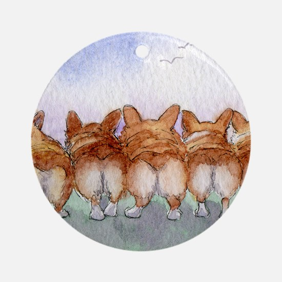 Five walk away together wider Round Ornament