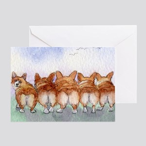 Five walk away together wider Greeting Card