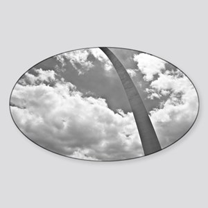 Going Up, The Gateway Arch in Black Sticker (Oval)