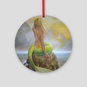 mermaids perch Round Ornament