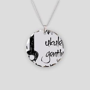 While My Ukulele Gently Weep Necklace Circle Charm