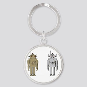 I Like Big Bots White Round Keychain