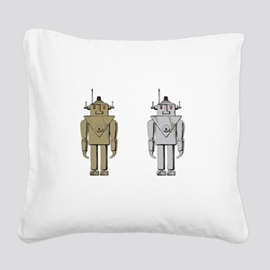 I Like Big Bots White Square Canvas Pillow