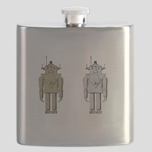 I Like Big Bots White Flask