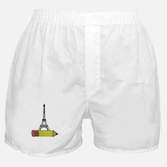 Pencil and EIffel Tower Boxer Shorts