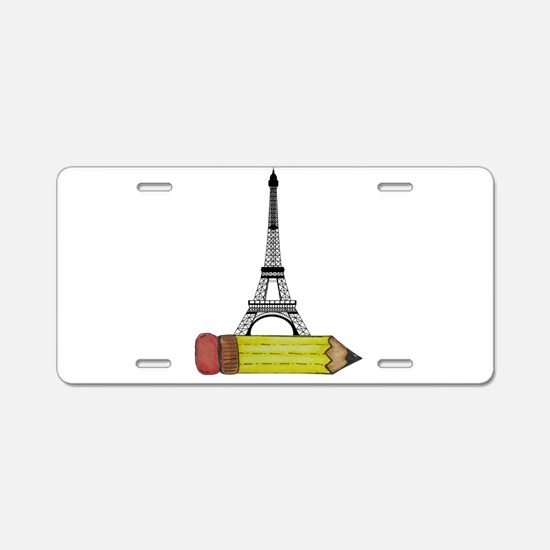 Pencil and EIffel Tower Aluminum License Plate