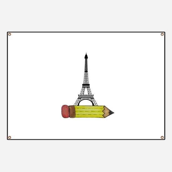 Pencil and EIffel Tower Banner