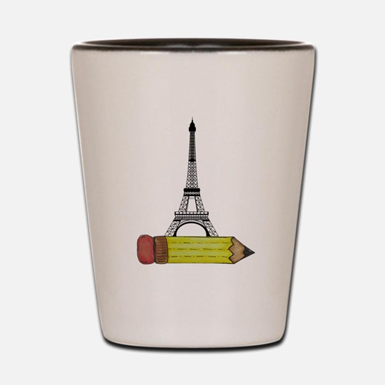 Pencil and EIffel Tower Shot Glass