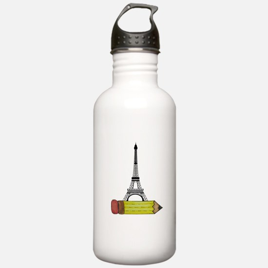 Pencil and EIffel Tower Water Bottle