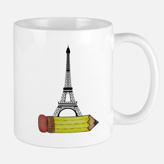 Pencil and EIffel Tower Mugs