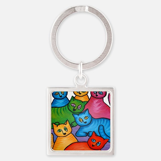 onecattwocat1 Square Keychain