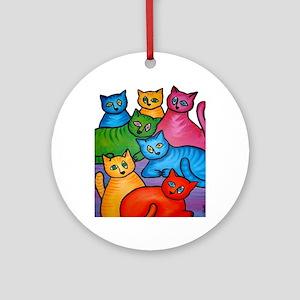 onecattwocat1 Round Ornament
