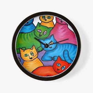 onecattwocat1 Wall Clock