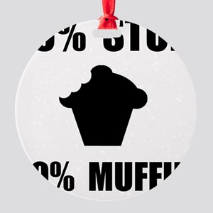 Mostly Muffin Black Round Ornament