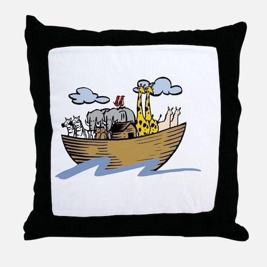 Noah Ark White Throw Pillow
