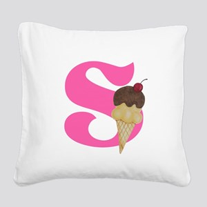 Pink S Initial Ice Cream Square Canvas Pillow