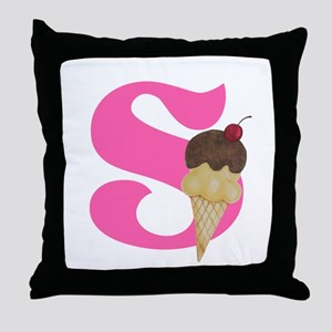 Pink S Initial Ice Cream Throw Pillow