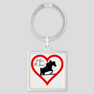 Heart_jump_bags_trans Square Keychain