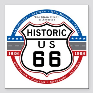 "Route_66 Square Car Magnet 3"" x 3"""
