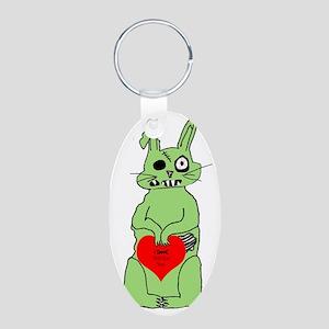 zombie bunnie_valentine Aluminum Oval Keychain