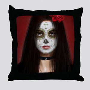 pretty vacant dia de muertos Throw Pillow