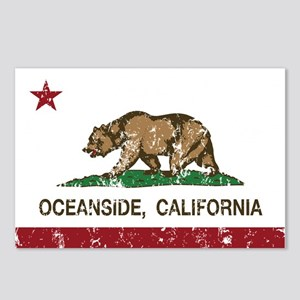 california flag oceanside distressed Postcards (Pa