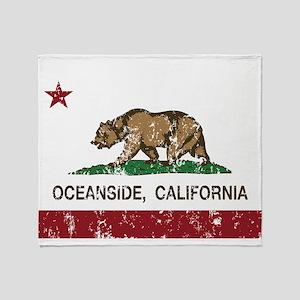 california flag oceanside distressed Throw Blanket