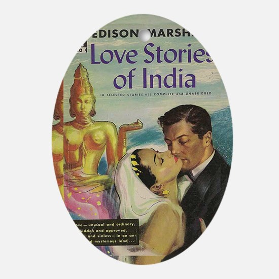 Pulp paperback Love Stories magnet Oval Ornament
