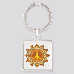 Peace Symbol Square Keychain
