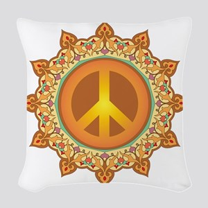 Peace Symbol Woven Throw Pillow