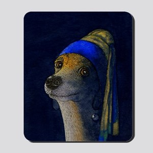 dog with a pearl earring saturated Mousepad