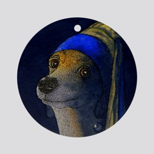 dog with a pearl earring saturated Round Ornament