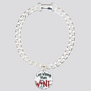 Less-Whining-More-Wine Charm Bracelet, One Charm