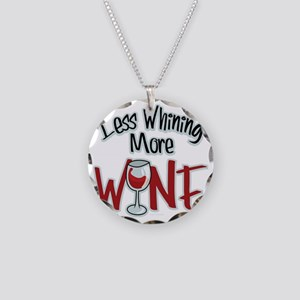 Less-Whining-More-Wine Necklace Circle Charm