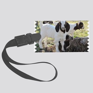 Twin goats Large Luggage Tag