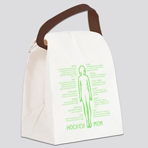 hockey mom silhouette green Canvas Lunch Bag