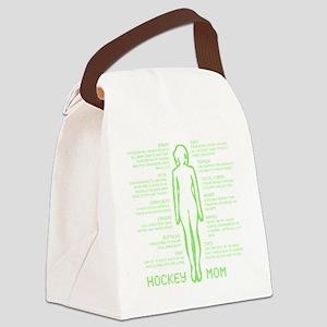 hockey mom silhouette green Canvas Lunch Bag
