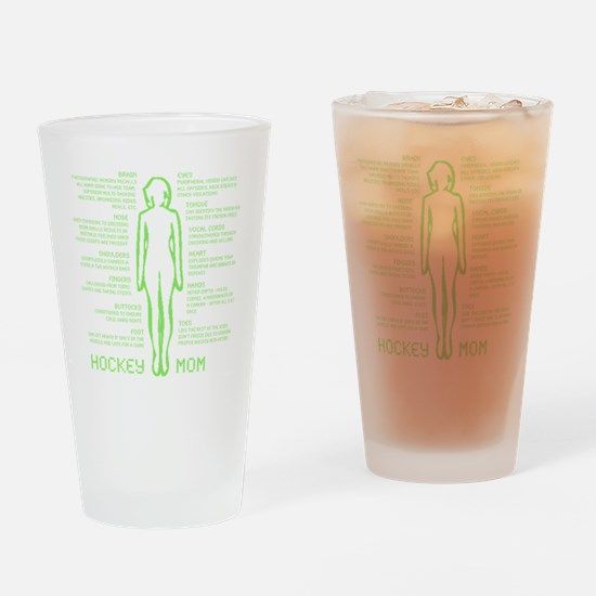 hockey mom silhouette green Drinking Glass