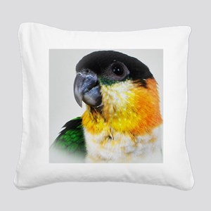 Black Capped Caique Square Canvas Pillow