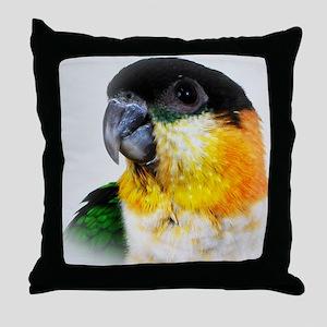 Black Capped Caique Throw Pillow