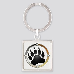 Bear Paw In Pride Circle Square Keychain