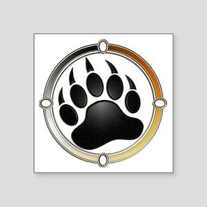 "Bear Paw In Pride Circle Square Sticker 3"" x 3"""