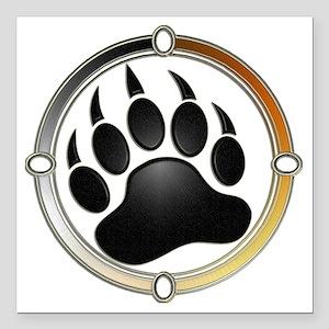 "Bear Paw In Pride Circle Square Car Magnet 3"" x 3"""