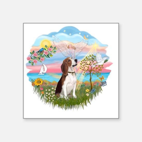 "Autumn Angel - Beagle 2 Square Sticker 3"" x 3"""
