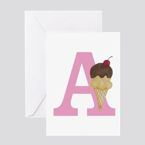Pink A Ice Cream Cone Greeting Cards