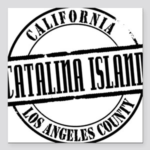 "Catalina Island Title W Square Car Magnet 3"" x 3"""