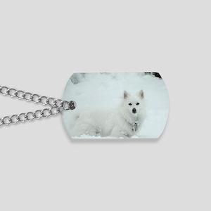 American Eskimo Dog Snow Day Dog Tags