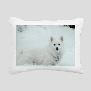American Eskimo Dog Snow Rectangular Canvas Pillow