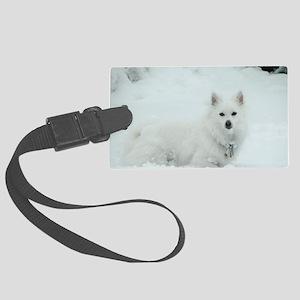 American Eskimo Dog Snow Day Large Luggage Tag