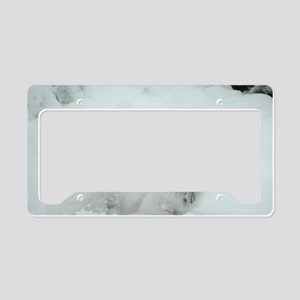 American Eskimo Dog Snow Day License Plate Holder